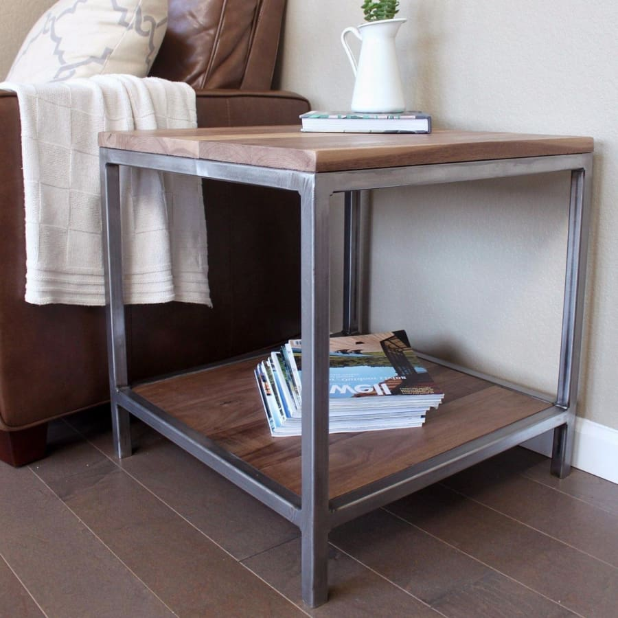 Walnut Wood And Metal Side Table Two Tiered Free Shipping