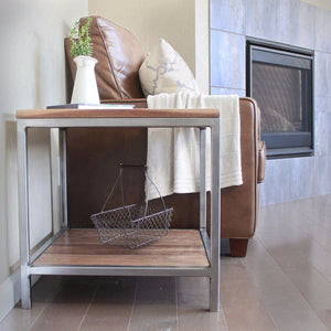 Walnut Wood And Metal Side Table Two Tiered - Free Shipping - Side And End Tables