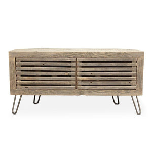 Reclaimed Wood Media Console / Corner Unit / Slat Doors - Free Shipping - Reclaimed Wood Media Console / Tv Stand 48