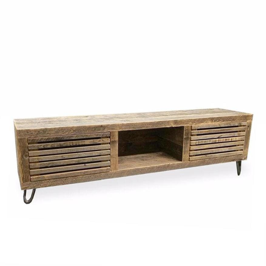 Reclaimed Wood Media Console Wood Slat Doors - Free Shipping - Consoles