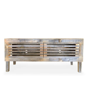 Reclaimed Wood Media Console Slatted Wood Doors - Free Shipping - Consoles