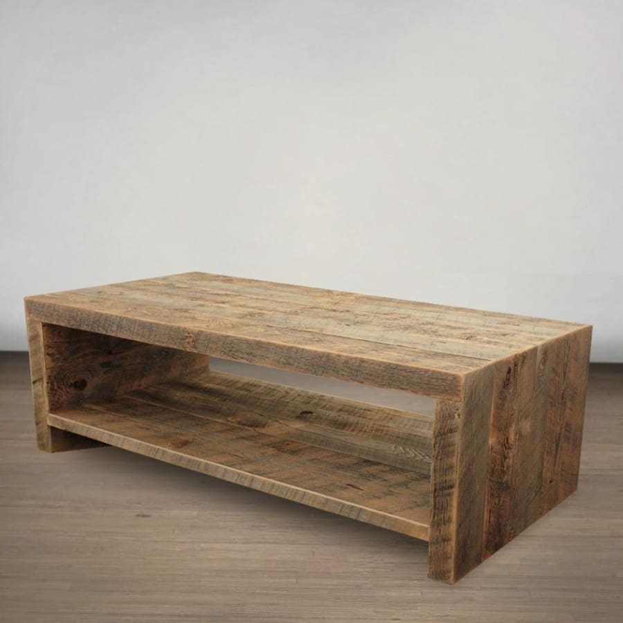 Reclaimed Wood Open Storage All Wood Coffee Table Free Shipping