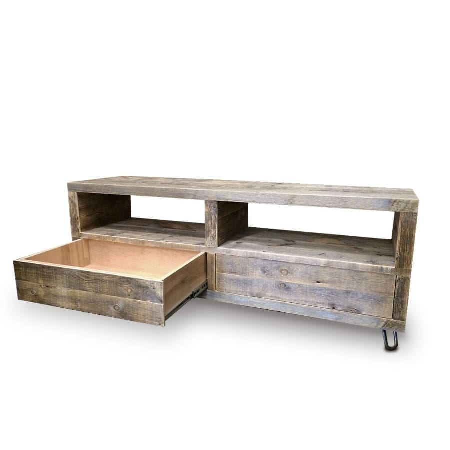 Reclaimed Solid Wood Media Console Open Shelving And Two Drawers - Free Shipping - Bookshelf Bookcase Media Console