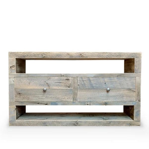 Reclaimed Solid Wood Media Console Two Drawers - Free Shipping - Bookshelf Bookcase Media Console