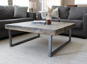 Reclaimed Wood And Metal Square Coffee Table Tube Steel Legs - Free Shipping - Coffee Tables