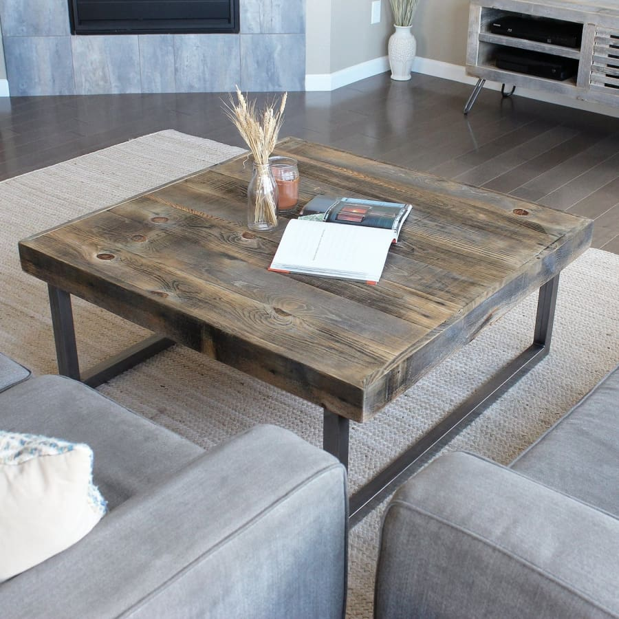 Modern Farmhouse Reclaimed Wood And Metal Square Coffee Table Jw