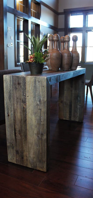 All Wood Reclaimed Waterfall Sofa Entryway Console Table - Free Shipping - Reclaimed Wood Furniture