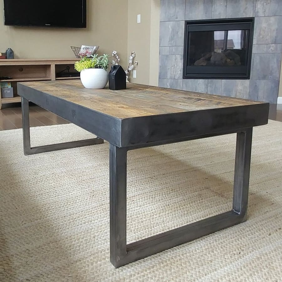 Reclaimed Wood And Metal Coffee Table Tube Steel Frame And Legs