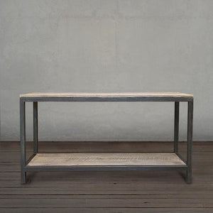 Reclaimed Wood And Metal Two Tier Sofa Entryway Console Table - Free Shipping - Reclaimed Wood Furniture