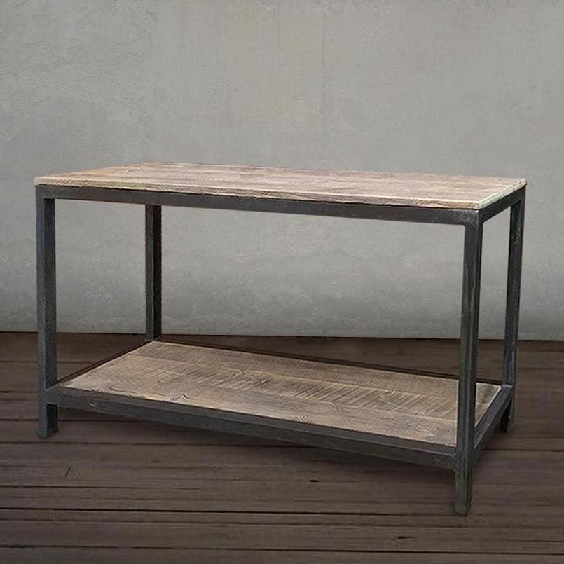 Reclaimed Wood And Metal Two Tier Sofa Entryway Console Table