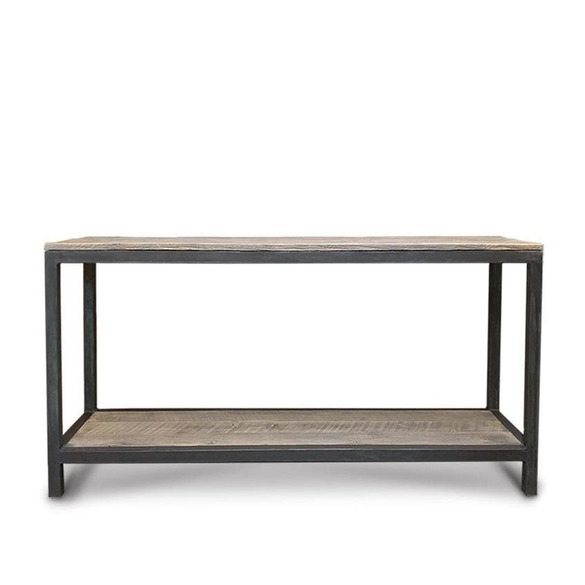 Amazing Reclaimed Wood And Metal Two Tier Sofa Entryway Console Caraccident5 Cool Chair Designs And Ideas Caraccident5Info