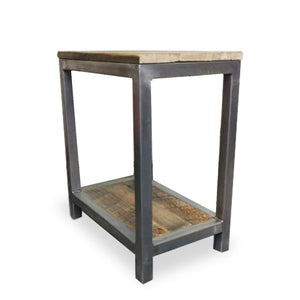 Tall Two Tier Wood And Metal End Table Side Table Night Stand - Free Shipping - Side And End Tables