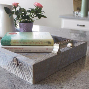 Reclaimed Wood Tray Stylized Handles - Free Shipping - Trays