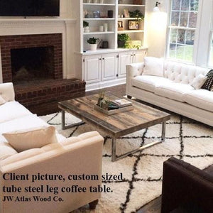 Reclaimed Wood Coffee Table Tube Steel Legs - Free Shipping - Coffee Tables
