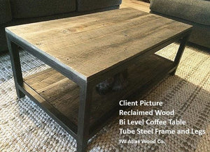 Reclaimed Wood And Metal Coffee Table Two Tier - Free Shipping - Coffee Tables