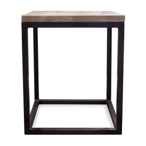 White Oak Wood And Metal End Side Table - Free Shipping - Side And End Tables