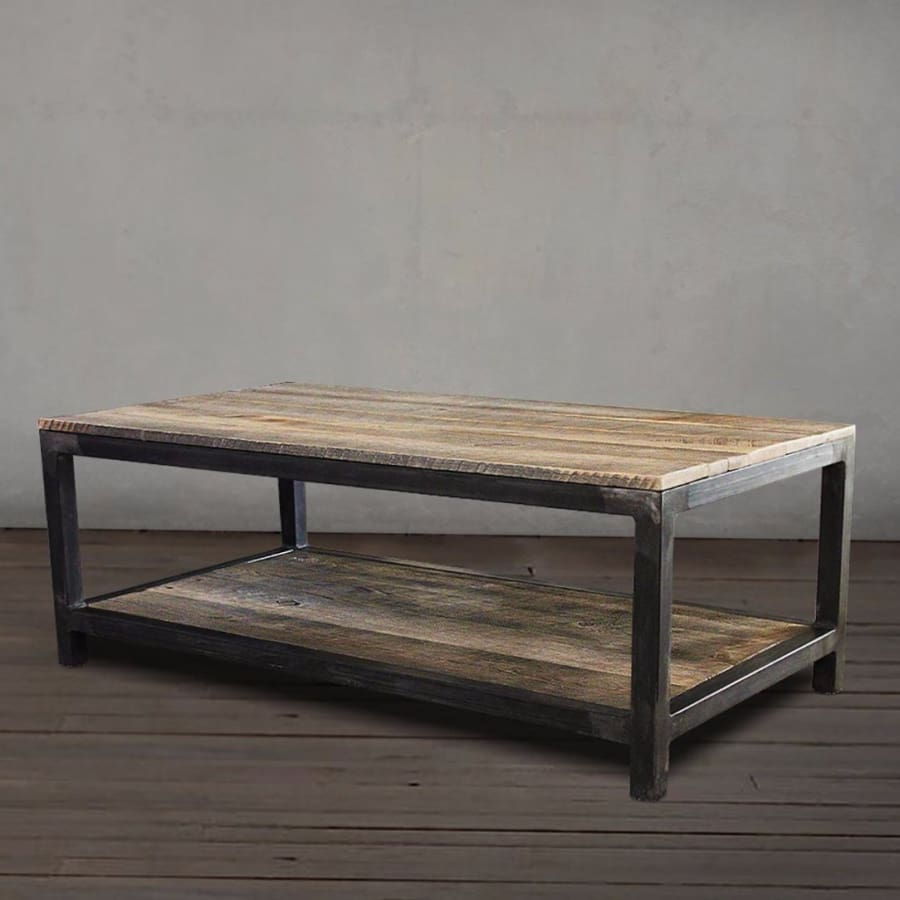 Stupendous Reclaimed Wood And Metal Coffee Table Two Tier Free Shipping Ocoug Best Dining Table And Chair Ideas Images Ocougorg