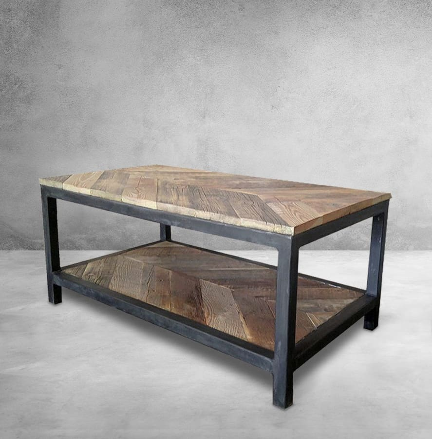 Sensational Reclaimed Wood And Metal Coffee Table Two Tier Chevron Pattern Free Shipping Lamtechconsult Wood Chair Design Ideas Lamtechconsultcom