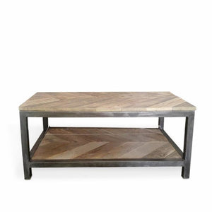 Reclaimed Wood And Metal Coffee Table Two Tier Chevron Pattern - Free Shipping - Coffee Tables