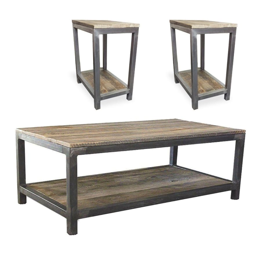 Reclaimed Wood Mid Century Modern Two Tier Coffee And End Table Set