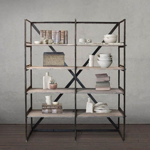 Welded Steel And Reclaimed Wood Bookshelf Bookcase Dark Stained Steel - Free Shipping - Bookcase