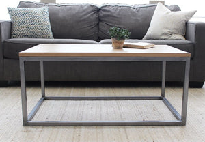 White Oak Light Wood and Metal Coffee Table Tube Steel Legs - Free Shipping - Coffee Tables