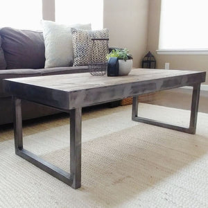 Reclaimed Wood And Metal Coffee Table Tube Steel Frame And Legs - Free Shipping - Coffee Tables