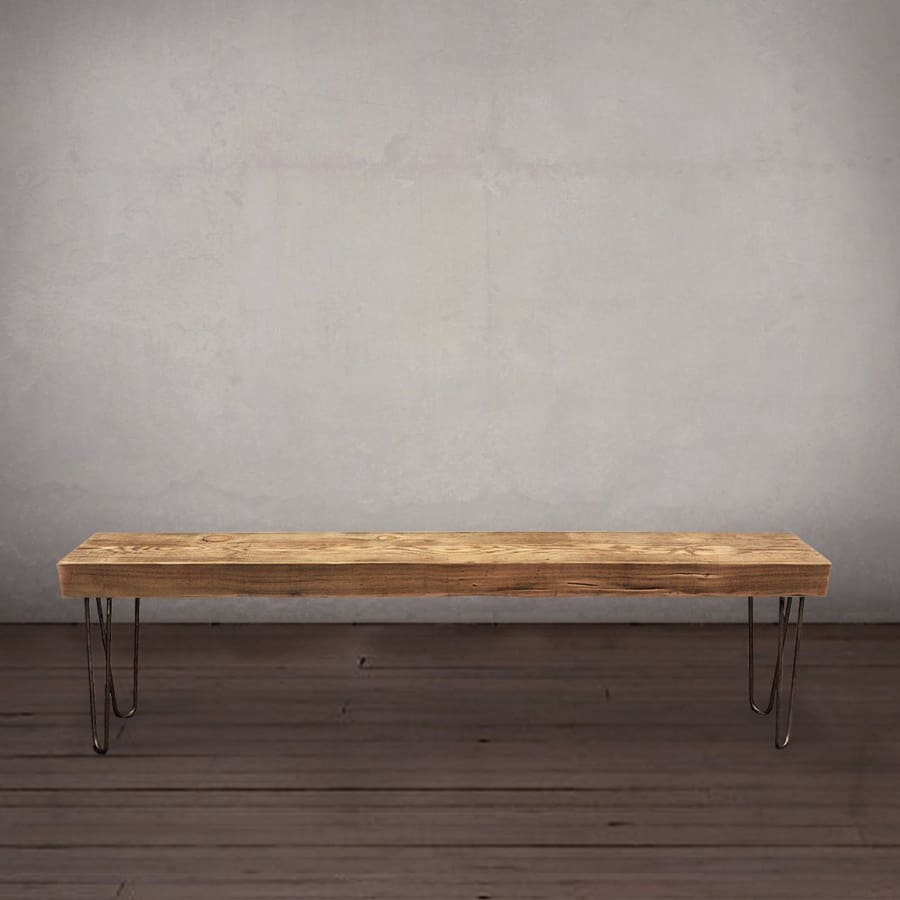 Admirable Reclaimed Wood Beam Bench Hairpin Legs Free Shipping Gmtry Best Dining Table And Chair Ideas Images Gmtryco