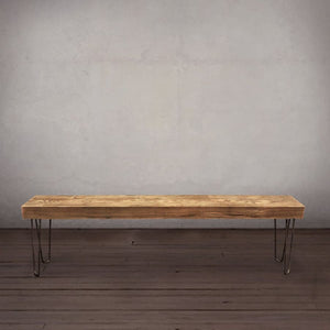 Reclaimed Wood Beam Bench Hairpin Legs - Free Shipping - Benches