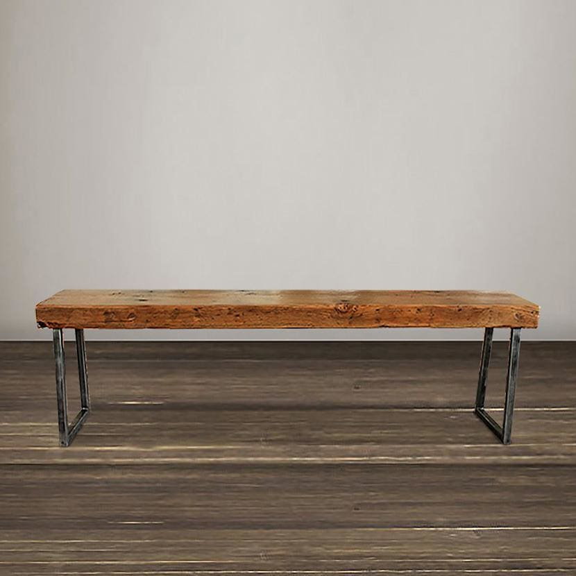 Remarkable Reclaimed Wood Beam Bench Tube Steel Legs Free Shipping Gmtry Best Dining Table And Chair Ideas Images Gmtryco