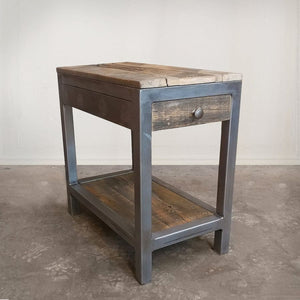 Reclaimed Wood And Metal End Table With Storage - Free Shipping - Side And End Tables