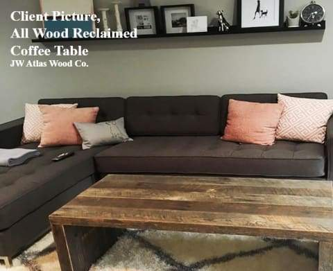 Reclaimed Wood Coffee Table All Wood - Free Shipping