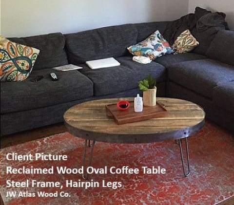 Reclaimed Wood Oval Coffee Table With Hidden Drawer - Free Shipping