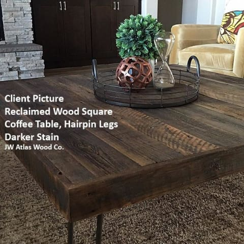 Reclaimed Wood and Metal Leg Square Coffee - Free Shipping