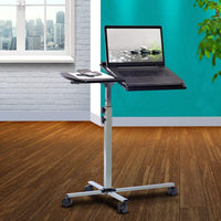 Rolling Adjustable Laptop Cart  Graphite