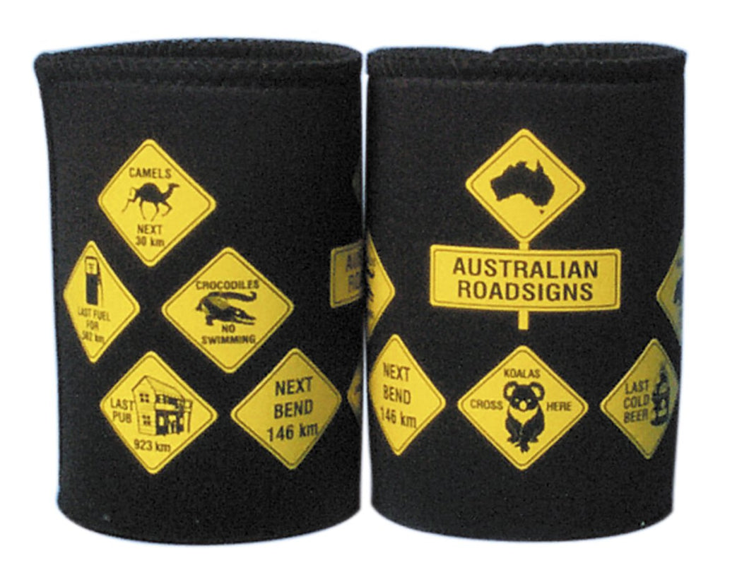 CAN COOLER AUSTRALIAN ROAD SIGNS