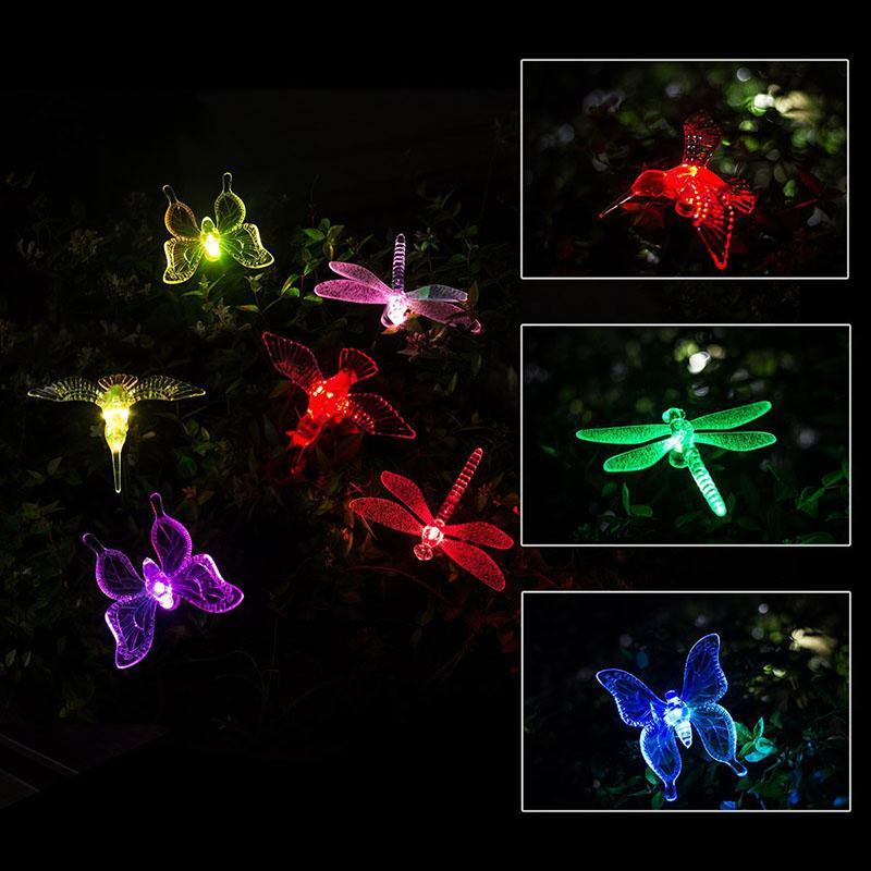 butterfly, dragonfly, and bird solar LED stake lights