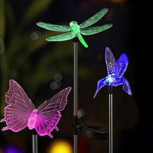 butterfly, dragonfly, and bird solar LED stake lights for garden