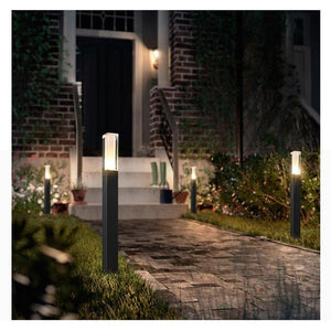 LED path lights in front of a home