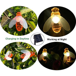 solar powered string lights honey bee with charging and light cycles