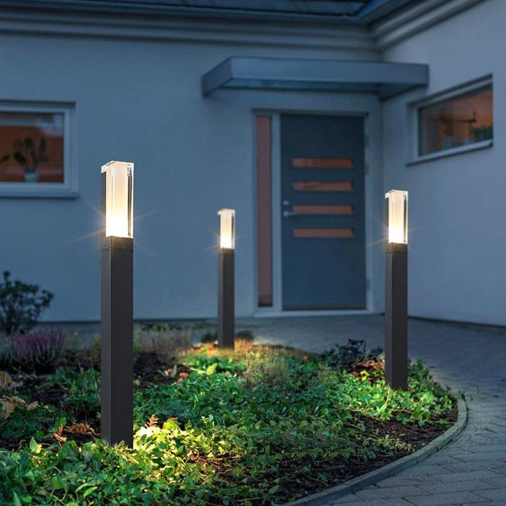 modern aluminum path light, tall and narrow