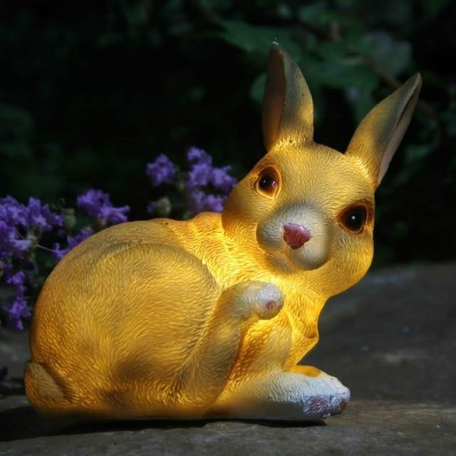 realistic rabbit solar garden light at night