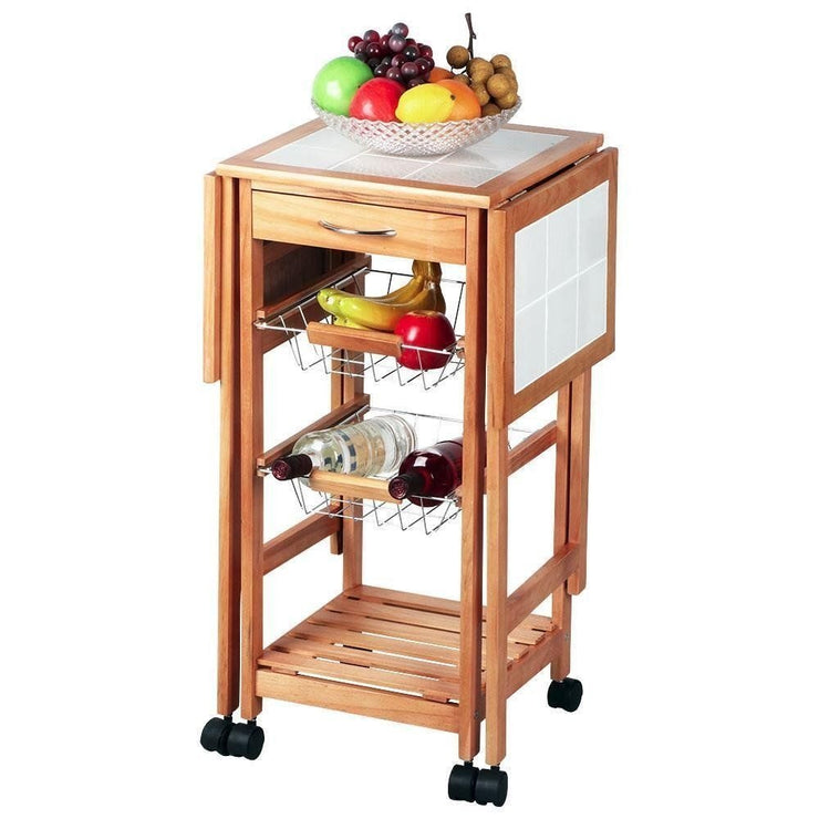 Rolling Portable Kitchen Island Storage Drawers Baskets Trolley Cart Stand Brown