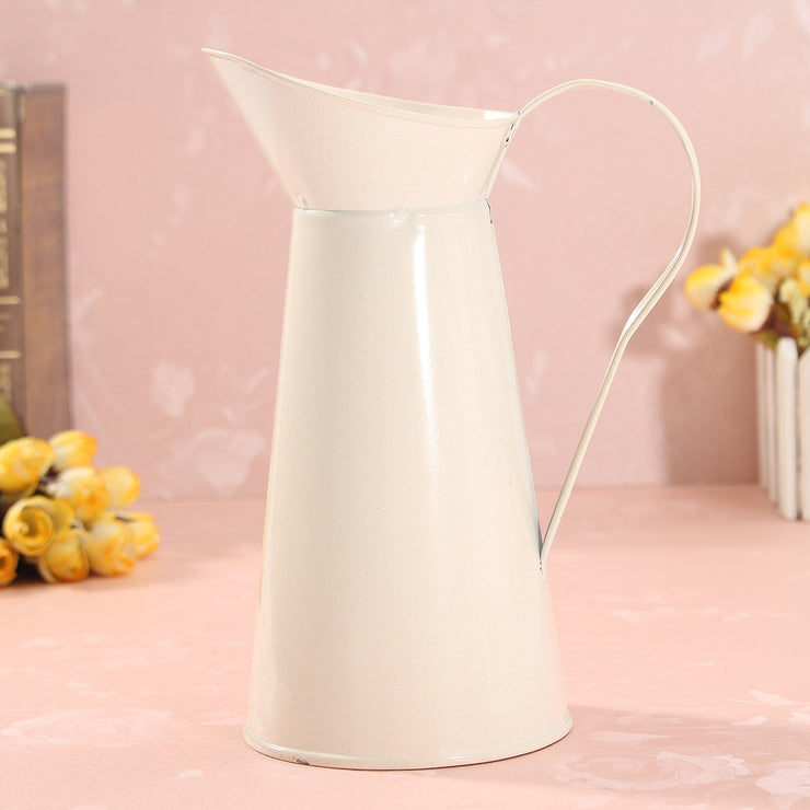 Vintage Shabby Chic Cream Flower Vase Enamel Pitcher Jug Tall Metal Wedding Decor