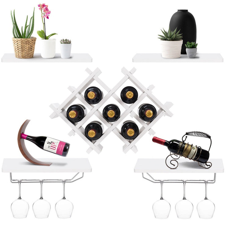 Set of 5 Wall Mount Wine Rack Set w/ Storage Shelves and Glass Holder White