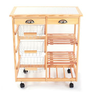 Wooden Trolley Cart Island Dining Storage Drawers Baskets Stand Rolling Kitchen