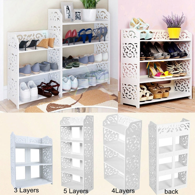 3/4/5 Layer Baroque Classic White Modern Shoe Rack