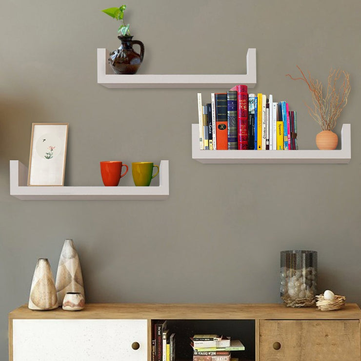 Wooden Modern Storage Rack Wall Mounted Home Floating Shelf Organizer Decor