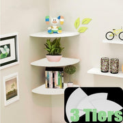 3Pcs Corner Shelf Floating Radial Wall Shelves Mount Storage Rack Display Decor