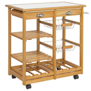 Mobile Kitchen Island Utility Cart with Tile C- Rolling Wood Kitchen